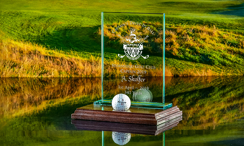 Click here to see our Rectangular Plaque with wooden base - for your Drive In Ball!